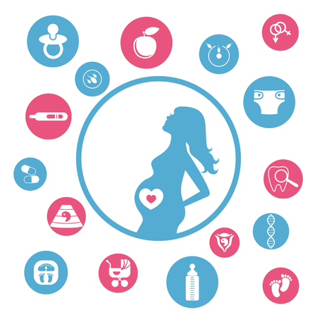 childbirth: Pregnancy and newborn baby icons set. Childbirth and motherhood. Pregnancy and birth infographics. Medicine and pregnancy vector icons set.
