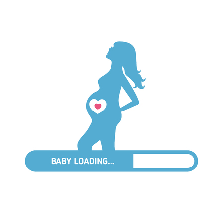 consept: Pregnant woman consept. Silhouette of pregnant woman and set of kids icons. Illustration