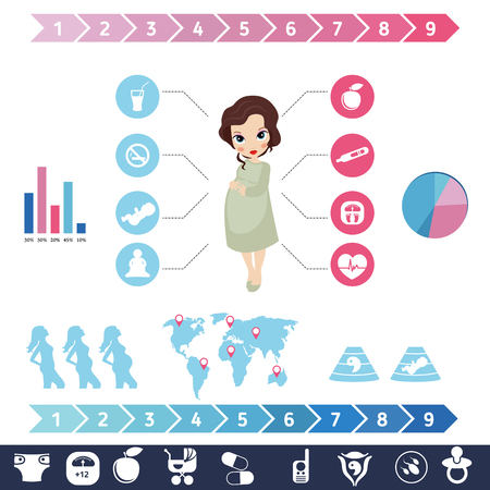 test tube babies: Pregnancy and newborn baby icons set. Childbirth and motherhood. Pregnancy and birth infographics. Medicine and pregnancy vector icons set.