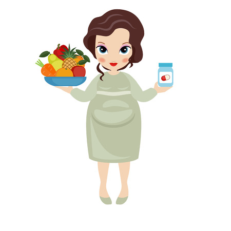 Pregnant woman with a fruit plate in one hand and vitamins bottle in another. Healthy lifestyle.