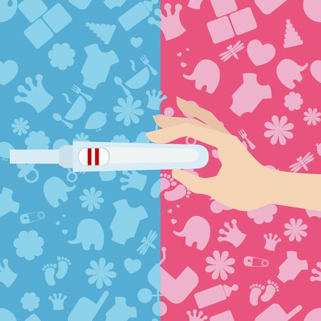 pregnancy test: Vector illustration of pregnancy test in womans hand. Background with baby icons.