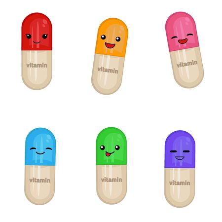 Cartoon smiling medical capsules isolated on the white background. Vitamins design.