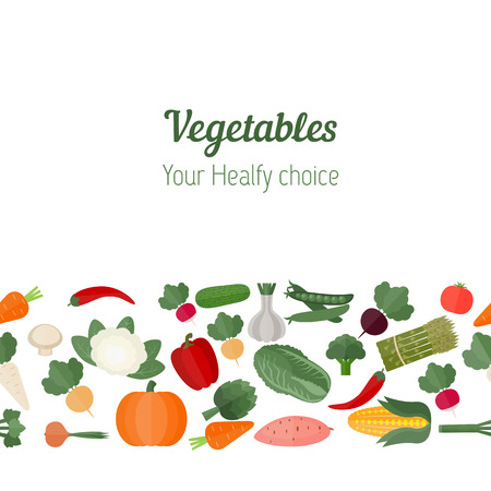 Vegetables seamless background. Colorful template for cooking, restaurant menu and vegetarian food.