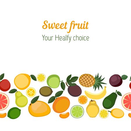 natural juices: Fruit seamless background. Colorful template for cooking, restaurant menu and vegetarian food.