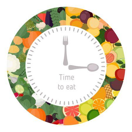 Une alimentation saine horloge alimentaire. Diète et le concept de l'alimentation saine. Horloge montrant des aliments sains. Vecteurs