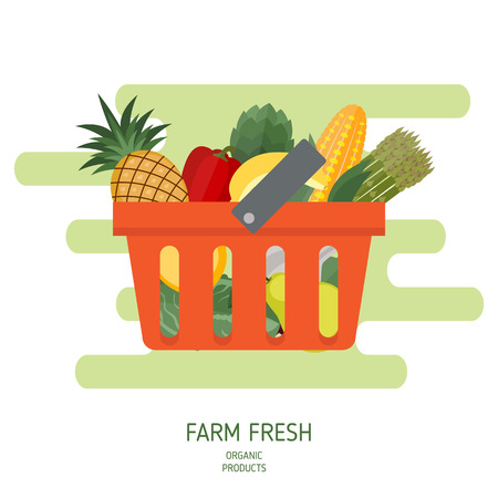 Shopping basket in flat style. Healthy food. Vector illustration. Illustration