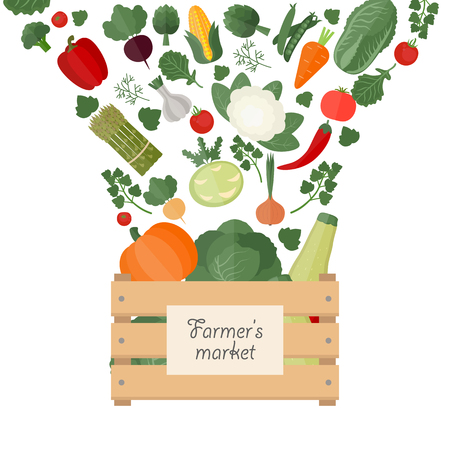 Vector illustration of fresh vegetables in a box. Wooden box with garden vegetables. Healthy food concept. 版權商用圖片 - 60224966