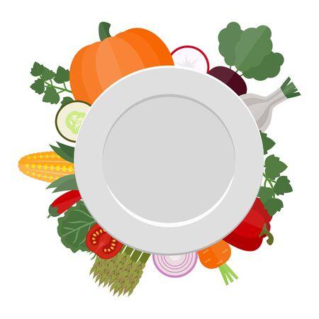 Vector illustration d'assiette vide avec des légumes. concept de saine alimentation. Fond blanc.