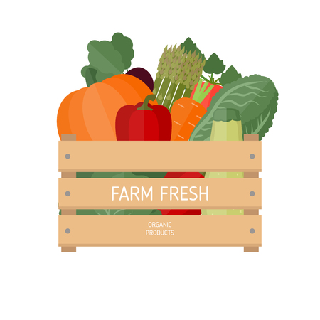 Vector illustration of fresh vegetables in a box. Wooden box with garden vegetables. Healthy food concept.