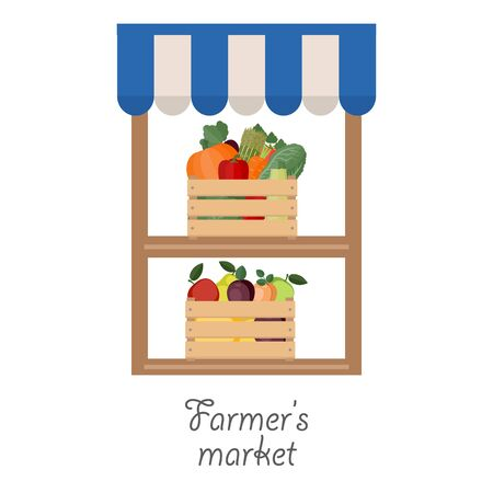sunblind: Vector illustration of farmers market. Fruit and vegetables in wooden boxes.