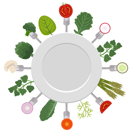 Vector illustration of white plate with pieces of vegetables on forks. Healthy eating concept. White background. Illustration