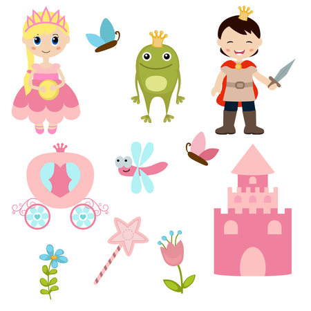frog queen: icons collection as design elements, a set of princess theme with castle, frog prince, carriage. Illustration