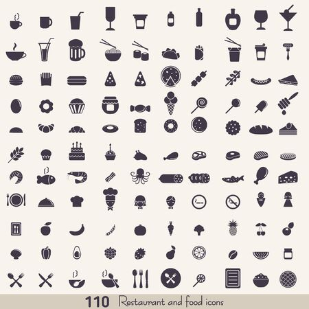 Big set of food and kitchen icons for mobile, web and applications. Vector Illustration
