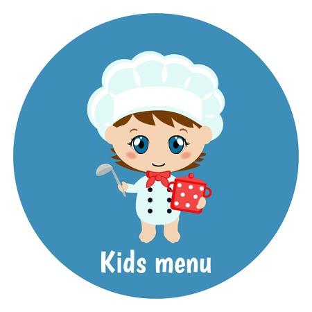 Happy cartoon child chef with menu paper