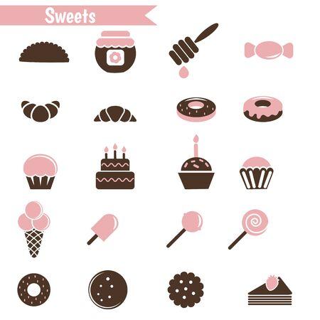 taffy: Set of dessert icons on white background.