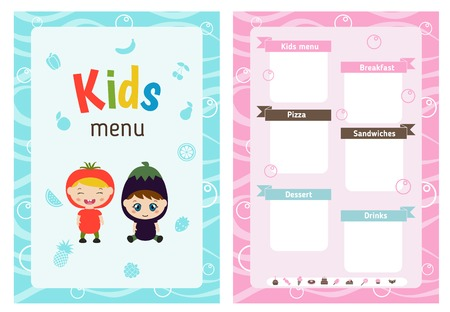 recipe background: Kids menu card with little cartoon children. Cute colorful kids meal restaurant menu template. Illustration