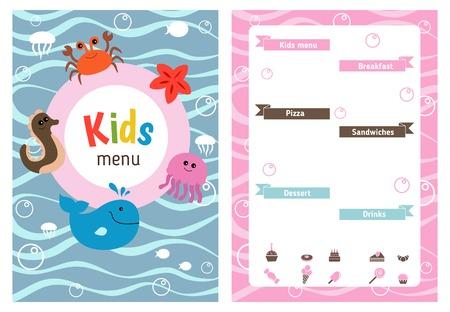 sea creatures: Kids menu card with sea creatures. Cute colorful kids meal restaurant menu template. Illustration