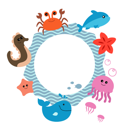 Round frame with cute sea life creatures.