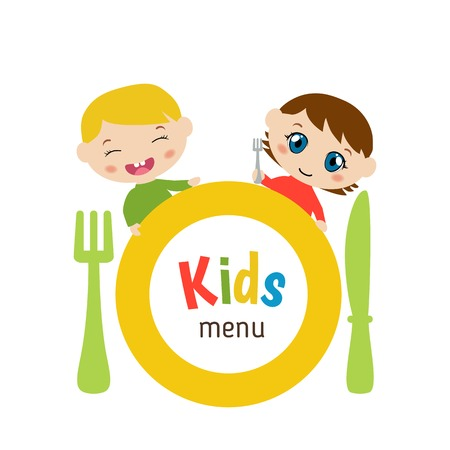 Kids menu card with plate and children. White background.