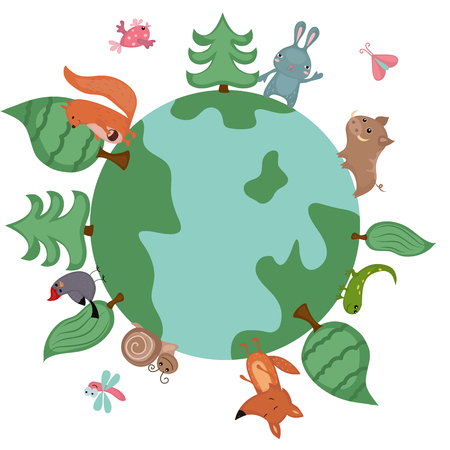 Vector illustration of globe with wild animals and plants. Иллюстрация