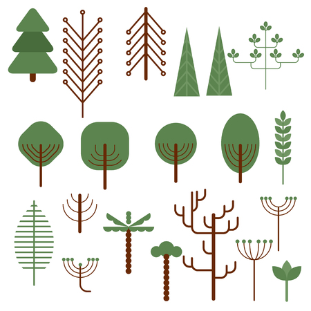 bushes: Trendy set of different trees and bushes