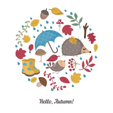 Set of cartoon autumn elements. Symbols in the shape of circle. Postcard Hello Autumn