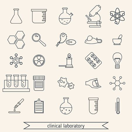 clinical: Medical and clinical laboratory thin line icons. Illustration