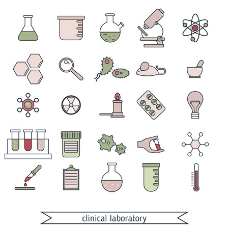 clinical: Set of medical and clinical laboratory colored icons.