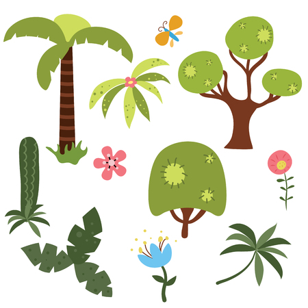 Set of jungle trees and plants on white background. Illustration