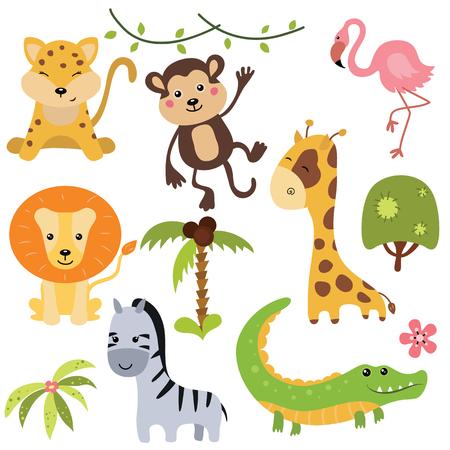 Conjunto de diversos animales africanos en el fondo blanco.