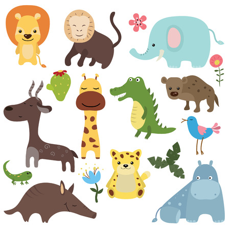leopard gecko: Set of different african animals on white background. Illustration