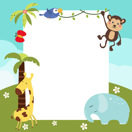 Frame with a variety of cute African animals. Funny card with empty space for text Illustration