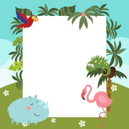 africa chameleon: Frame with a variety of cute African animals. Funny card with empty space for text Illustration