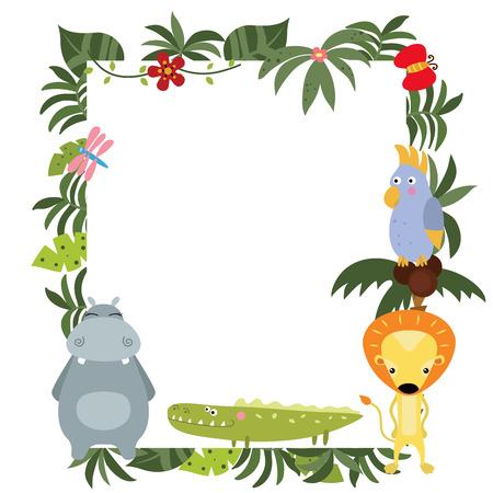 animals frame: Frame with a variety of cute African animals. Funny card with empty space for text. White background.