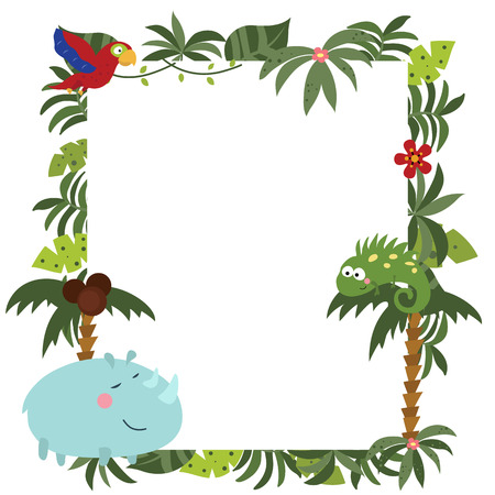 Frame with a variety of cute African animals. Funny card with empty space for text. White background.