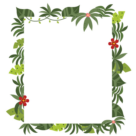 empty space for text: Frame with tropical plants. Funny card with empty space for text. White background.