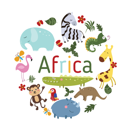 Set of different african animals on white background. Round vector illustration.