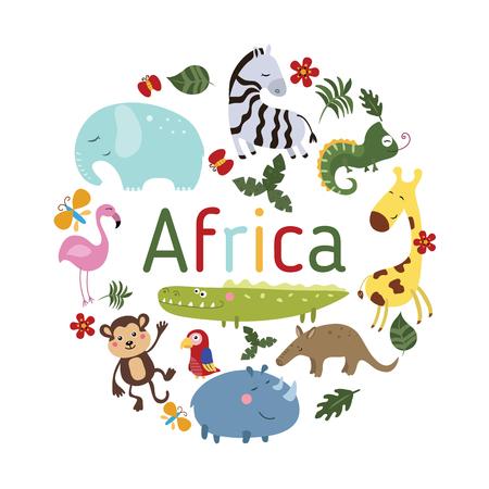 Set of different african animals on white background. Round vector illustration. 版權商用圖片 - 61566844
