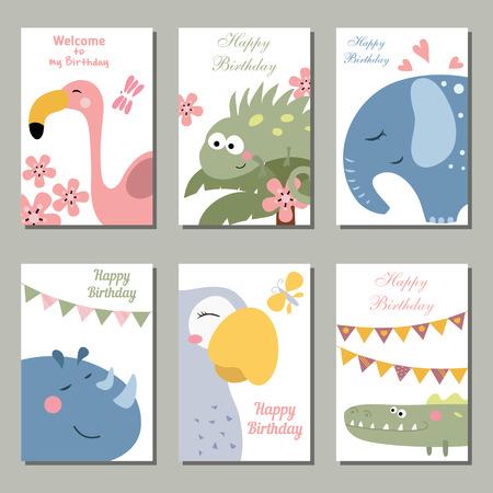 Conjunto de hermosas tarjetas de invitación de cumpleaños decorado con animales salvajes en el fondo blanco.
