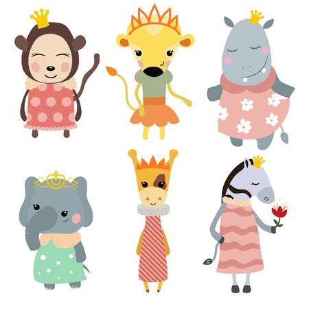 dressed: Set of Princess animals. Collection of animals dressed as princess. Illustration