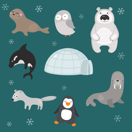 Set of different arctic animals on blue background.