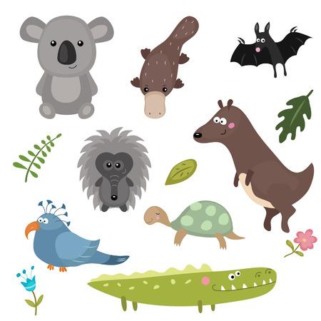 Set of different animals of Australia on white background.
