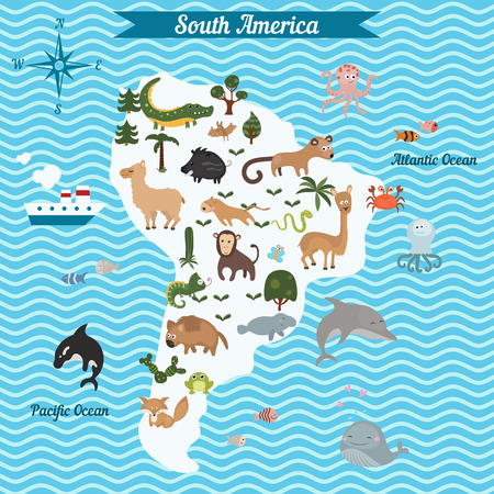 mammals: Cartoon map of South America continent with different animals. Colorful cartoon illustration for children and kids. South America mammals and sea life. Cartoon design concept for kids education,poster design.