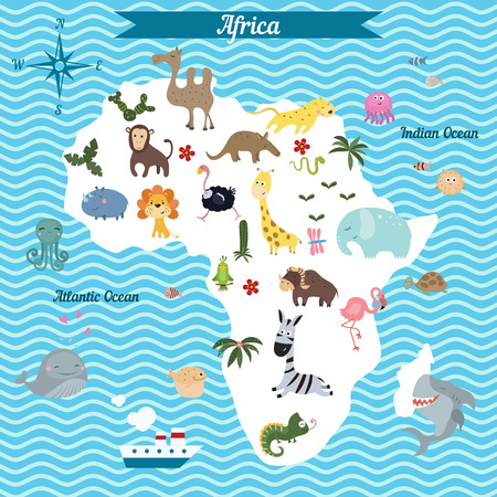 Cartoon Map Of North America Continent With Different Animals - Continents map for kids