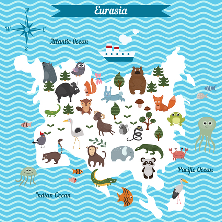 mammals: Cartoon map of Eurasia continent with different animals. Colorful cartoon illustration for children and kids. Eurasia mammals and sea life. Cartoon design concept for kids education,poster design.