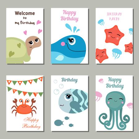 Conjunto De Hermosas Tarjetas De Invitación De Cumpleaños