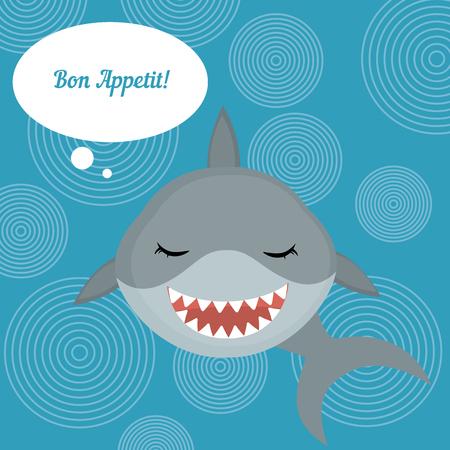 bon: Fish menu card with shark. Shark says Bon Appetit. Blue background with circles. Illustration
