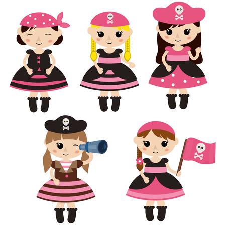 Set of cute cartoon girl pirates on white background.