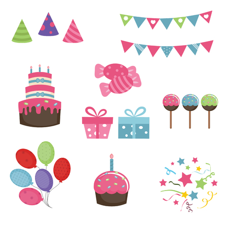 Set of birthday icons on white background. Party and celebration design elements.