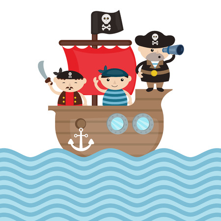 pirate crew: Illustration of pirate ship with cute cartoon pirates.